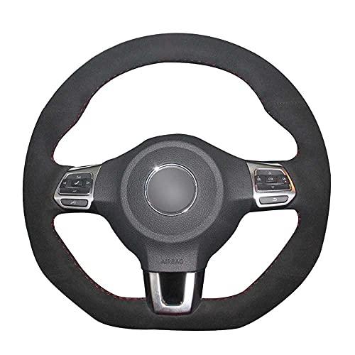 MPOQZI Cubierta del Volante del Coche Cosida a Mano de Gamuza Negra, Apta para Volkswagen Golf 6 GTI MK6 VW Polo GTI Scirocco R Passat CC R-Line 2010