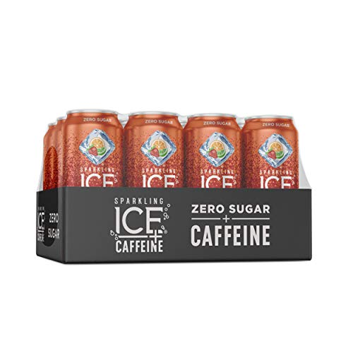 Sparkling Ice +Caffeine Strawberry Citrus Sparkling Water, with Antioxidants and Vitamins, Zero Sugar, 16 fl oz Cans (Pack Of 12)