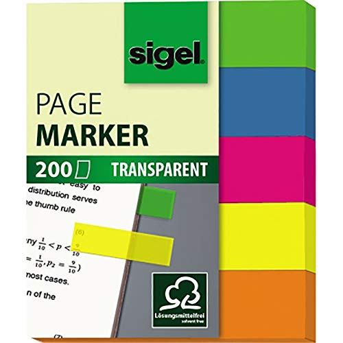 SIGEL HN615 Haftmarker, 200 Mini-Streifen im Format 12 x 50 mm, 5 Farben - weitere Modelle