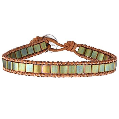 KELITCH Nouveaux Bracelets De Perles Tila Bracelets D'enveloppant De Brins Multi Couleur Bracelets en Cuir