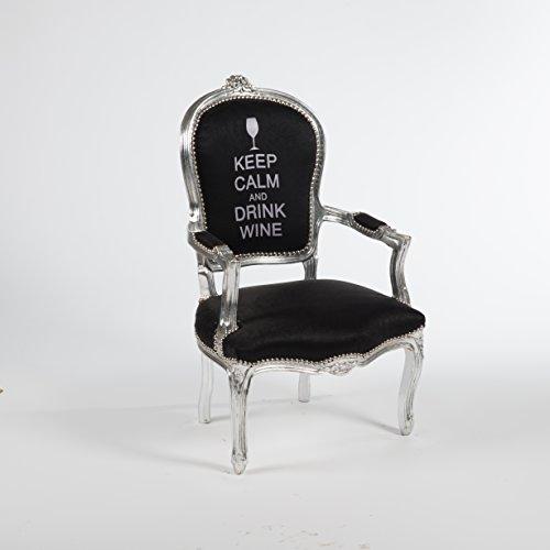 Way Home Store Barocksessel im französischen Stil Luigi XVI Luis Keep Calm 63 x 65 x 94 cm