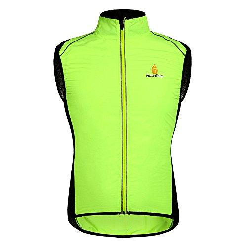 HYSENM Weste Radweste Windweste Jacke Tour de France ärmellos wasserdicht atmungsaktiv für Fahrrad MTB, Gelb XL