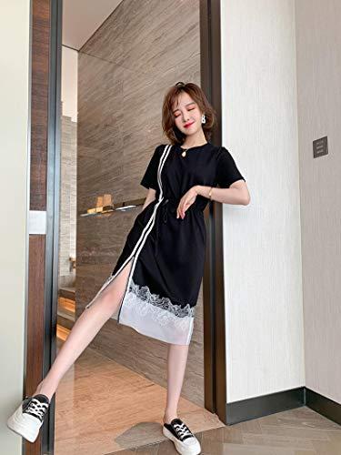 Vestido de Mujer Chic Sideways Contraste Costura Cremallera Encaje Dobladillo Cordón con Cordones Cintura Vestido Largo