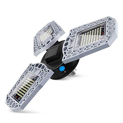 Luz De Garaje LED, Luz De Techo LED Deformable 14400 Lm LED Luces De Tienda Para Garaje Con 3 Paneles Ajustables, Bombilla De Luz LED Para Granero,Warm,60w