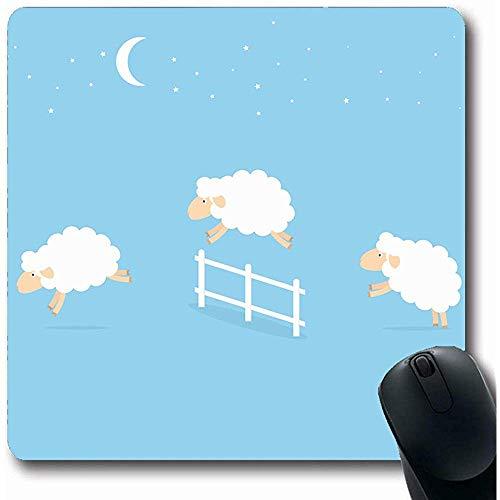 Mousepads weiland blauw tellen schapen springen over hek parken groene slaap springen schattig lam karakter ollige vorm 18x22Cm anti-slip gaming muismat