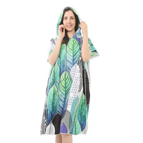 sochampion Robe Hooded Poncho Microfiber Towel Poncho Beach Towel Can Be Used For Beach Surfing Swimming and Triathlon Forest Green 105cmx88cmx33cm