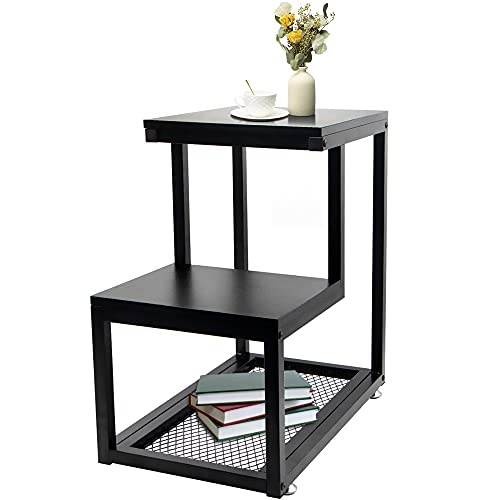 ABORON 3-Tier End Table W/Storage Shelf, Industrial Nightstand Made of Metal Frame & Wood, Side Tables for Living Room,Couch, Sofa,Bed and Small Space,Easy Assembly
