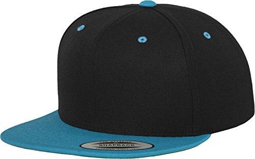 Yupoong Flexfit Unisex Kappe Classic Snapback 2-Tone, zweifarbige blanko Cap mit geradem Schirm, One Size Einheitsgröße für Männer und Frauen, Farbe blk/teal