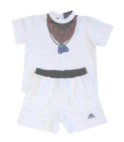 Adidas combinato Baby Set Baby T-shirt + Short con fazzoletto da collo, colore: bianco bianco 18 mesi
