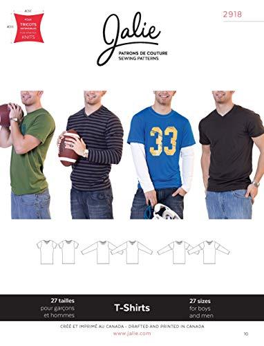 Jalie Schnittmuster 2918 für Herren und Jungen, Jersey, Strick-T-Shirts