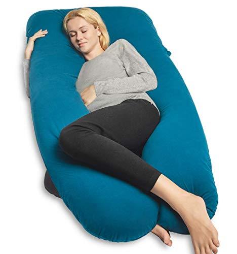QUEEN ROSE U-förmiges Schwangerschaftskissen, Seitenschläferkissen, Lagerungskissen mit Körper Kissenbezug (Jersey-Blau)