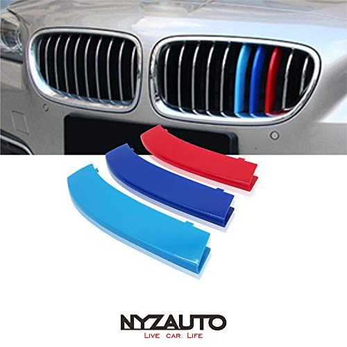 NYZAUTO M-Colored Stripe Grille Insert Trims Compatible with BMW 2010-2016 F10 F11 5 Series 528i 535i 550i with Standard Center Chrome Kidney Grill (10 Beams,Not Fit 12-Beam)
