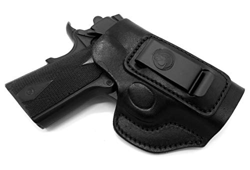 """HOLSTERMART USA Right Hand IWB AIWB Inside Pants Clip-On Concealment Holster in Black Leather for 3"""" Nonrail 1911 Kimber Ultra Carry II, Super Carry Ultra, Ultra CDP II"""