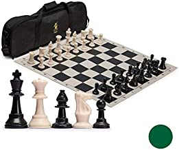 Yellow Mountain Imports Regulation Tournament Roll-Up Staunton Chess Game Set (19.75-Inch) with Travel Bag, 2 Extra Queens, and Weighted Chessmen - Black