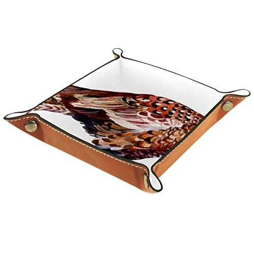 FCZ Bonita bandeja dorada para guardar carpetas de piel con diseño de pájaro de faisán dorado para mesita de noche, caja organizadora de almacenamiento para llaves, monedero de 20 x 20 cm