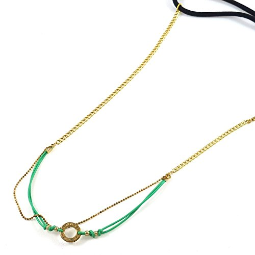 rougecaramel - Accessoires cheveux - Headband/bandeau/serre tête bijoux chaine maille fantaisie - vert