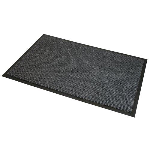 JVL. Alfombra Antideslizante y Resistente, para Puerta, de Vinilo, Color Gris y Negro, de 60x 150cm, Grande.