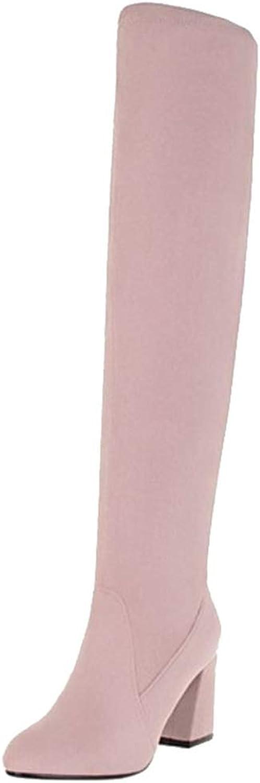Onewus Women Thigh High Chunky Heel Boots