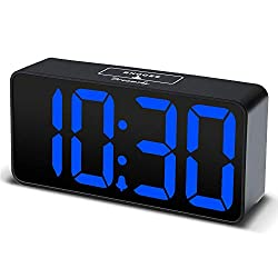DreamSky Compact Digital Alarm Clock with USB Port for Charging, Adjustable Brightness Dimmer, Blue Bold Digit Display, Adjustable Alarm Volume, 12/24Hr, Snooze, Bedroom Desk Alarm Clock.