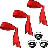 6 Suministros de Fiesta Pirata Halloween, 3 Diademas de Lazo Rojo Bandana de Pirata de Cabeza 3 Parches de Ojo de Pirata Capitán de Fieltro Negro Cubiertas de Ojos de Cráneo Hueso Cruzado