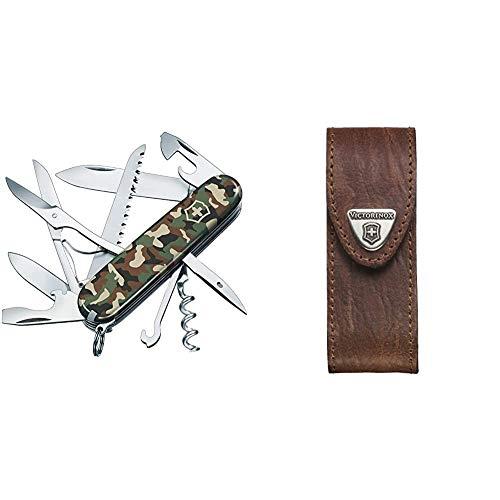Victorinox Taschenmesser Huntsman (15 Funktionen, Schere, Holzsäge, Korkenzieher) camouflage & Leder-Etui für Taschenmesser (Gürtelschlaufe, Klettverschluss, Braun, 3cm x 10cm, Braun)