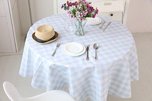 Vinylla Mantel para mesa (PVC, fácil limpieza), diseño de gingham con cuadros, color azul - Large(90 x 70)
