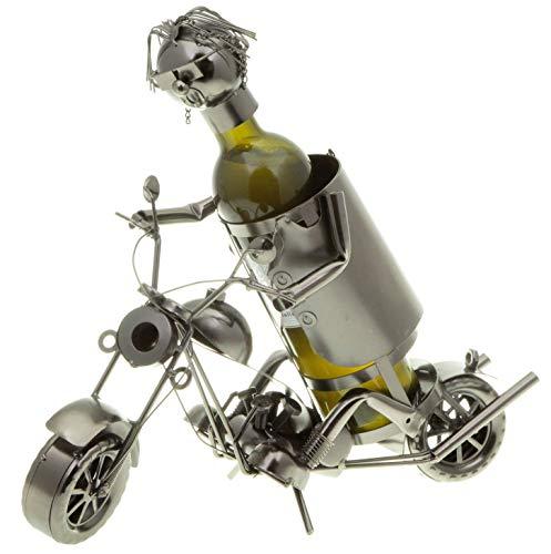 hLine Flaschenhalter Chopper Wein Flaschenständer Motorrad mit Fahrer
