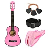Pink Wood Guitar with Case and Accessories Gift for Kids/Girls/Beginners (30')