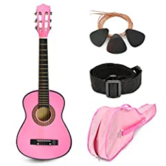 DURABILITY: Made of an all wood construction. Won't get dented or cracked when dropped by kids. SOUNDS: Tunes nicely and gives real sounds. Great for kids or beginners who are learning to play a guitar. ACCESSORIES: This exclusive beginner guitar inc...