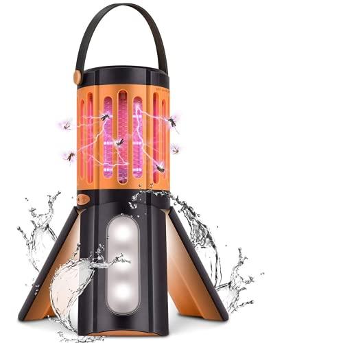 蚊取り器 Lukasu 2021新型電撃蚊取り器 UV光源誘引式 薬剤不要 蚊取り&照明両用 LEDランタン 電池別売 IP67生活防水 アウトドア 室内用