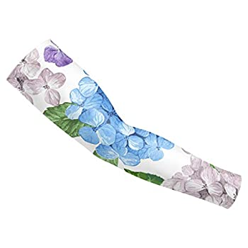 Arm Sleeves For Men Youth Women UV Protection Sleeve Elbow Compression Print Purple White Watercolor Hydrangea Flowers UPF 50 Cooling Tattoo Cover Up For Basketball Baseball Golf Cycling 1 Pair