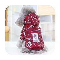 ペットの犬の冬のコート小さな犬の服子犬の衣装暖かい犬のジャケット中型犬のため-Burgundy Hood-L