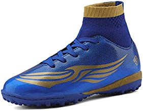 DREAM PAIRS Boys Girls Turf Outdoor/Indoor Soccer Football Cleats Shoes Royal Blue Gold Fuchsia Size 2 M US Little Kid HZ19008K