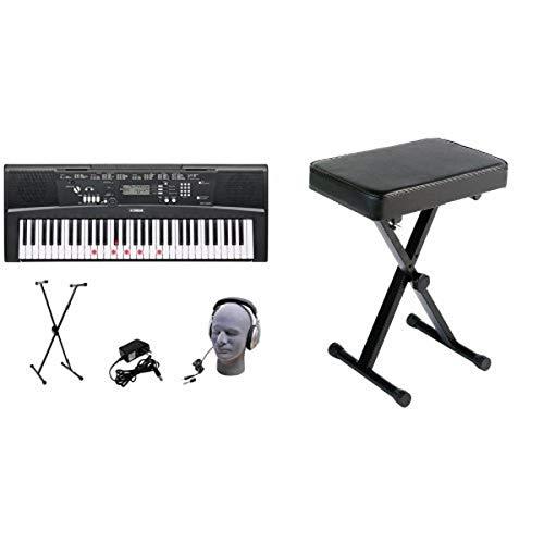 Yamaha EZ-220 61-Lighted Key Portable Keyboard Package with Headphones, Stand and Power SupplyYamaha PKBB1 Adjustable Padded Keyboard X-Style Bench, black