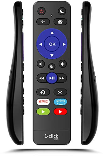 1-clicktech Universal Remote for All Roku TV Brands [TCL/Hisense/Sharp/Insignia/ONN/Philips/Sanyo/JVC/.] w/TOP Volume Buttons and Channel-Lock for Built-in Roku Smart TV [NOT for Roku Stick]