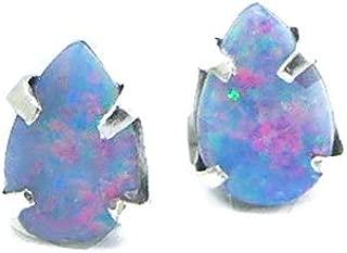 Genuine Australian Opal Stud Earrings Sterling Silver Claw Setting, Teardrop October Birthstone