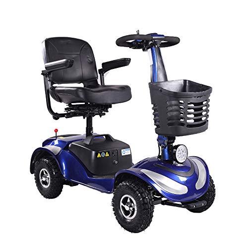 GZMDE Rolstoelen & scooter met 4 wieltjes voor volwassenen, elektrische mobiel voor ouderen, led-voorlicht, senioren gemotoriseerde reiziger