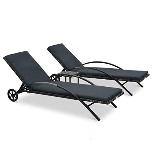 YUDIAN Sun Loungers with Table Poly Rattan Anthracite Consisting of 2 Sun Loungers And 1Table