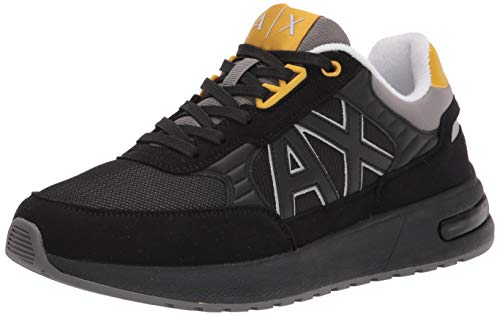 AX Armani Exchange Herren Sneaker Turnschuh, Schwarz/Grau, 43 EU