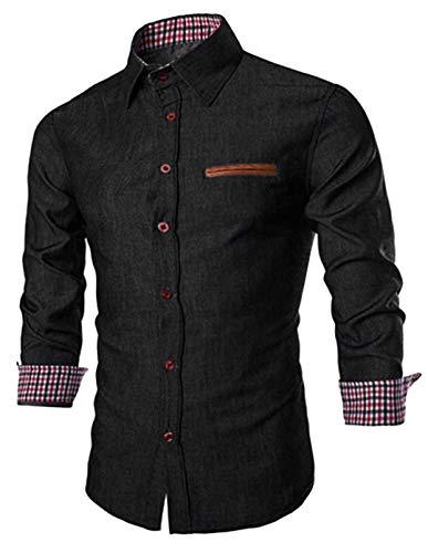 JINIDU Men's Casual Button Down Denim Shirts Long Sleeve Dress Shirt, 3X-Large, Black