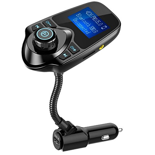 Nulaxy Transmisor FM, adaptador inalámbrico de Bluetooth FM Transmisor de radio Kit de manos libres para automóvil con pantalla de 1.44 pulgadas y cargador de coche USB - Negro