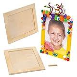 Baker Ross Große Holzbilderrahmen (4 Stück) – für Kinder zum Basteln, Gestalten und Verschenken