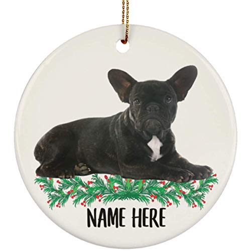 Lovesout Personalized Name Brindle French Bulldog Lying Christmas Tree Ornament Circle Ceramic