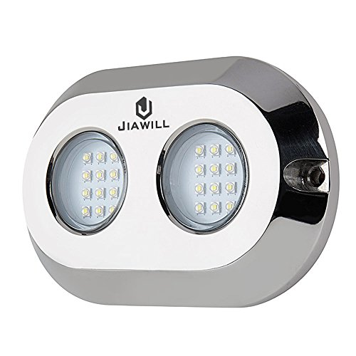 jiawill Dual Color 120W CREE LED Surface Mount Underwater Boat Lights 316L Stainless Steel
