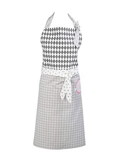 Vintage-Home Clayre & Eef Tablier de Cuisine Made With Aime Tablier de Cuisine Rustique Shabby Rose - gris, 80 x 93 cm