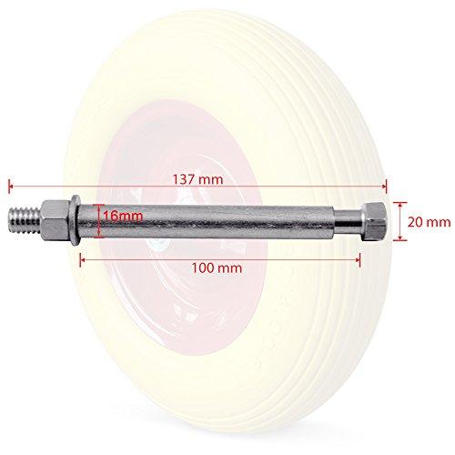 Deuba Schubkarrenrad Vollgummi PU 4.80/4.00-8 390 mm 200 kg + Achse – Reifen Ersatzrad - 3