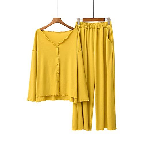2021 Mujeres Algodón Pijamas Conjunto Femenino Sólido Muestra Pijamas Suelto Elegante Casual Ropa de Dormir Primavera Otoño Verano Homewear Pijama