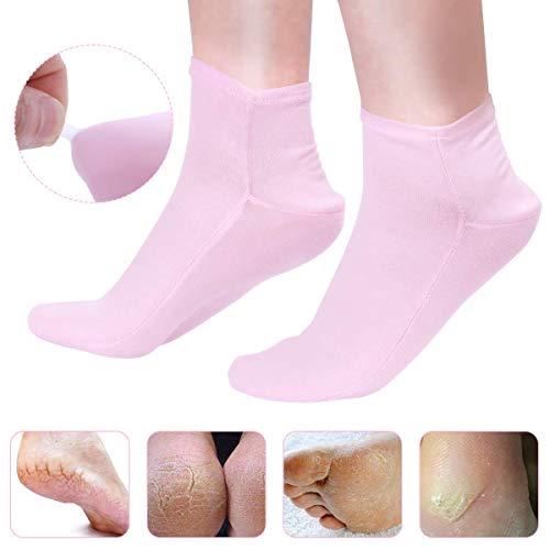 Frcolor 1 Paar feuchtigkeitsspendende socken Silikon Full Gel SPA Socken für trockene Füße gebrochene Fersenreparatur, Fußpflegesocken, Rosa
