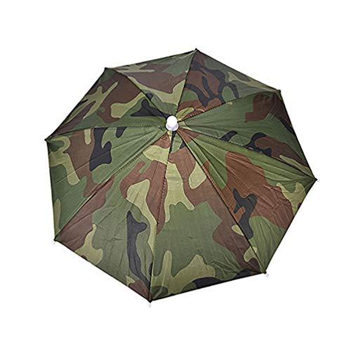 Geshiglobal Chapeau parapluie Bandeau réglable Pliable Soleil et pluie Sports de plein air Pêche, vert militaire
