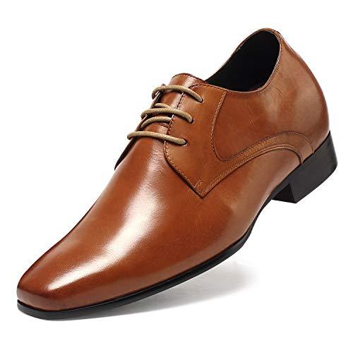 CHAMARIPA Herren Oxford Stil Elevator Schuhe Aus Kalbsleder Business Schnürhalbschuhe in Braun - 7cm höher-D08K02 (45)